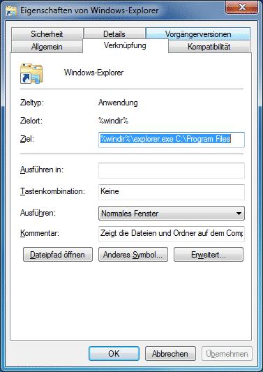 Windows Explorer Standardpfad ändern