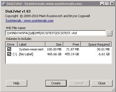 Disk2vhd Umwandlung von Windows Server 2008 R2