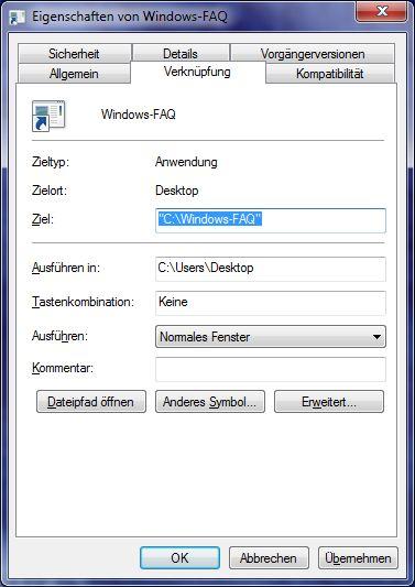 Eigenschaften von Windows-FAQ im Windows Explorer