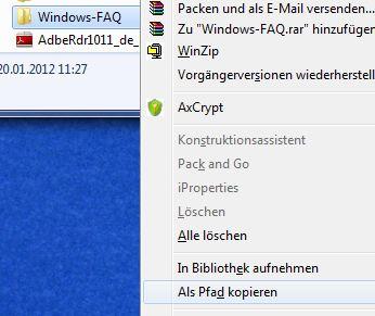 Windows Explorer als Pfad kopieren
