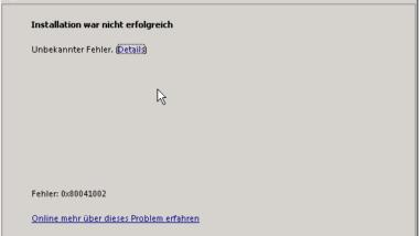 Fehler 0x80041002 bei Service Pack 1 (SP1) Installation