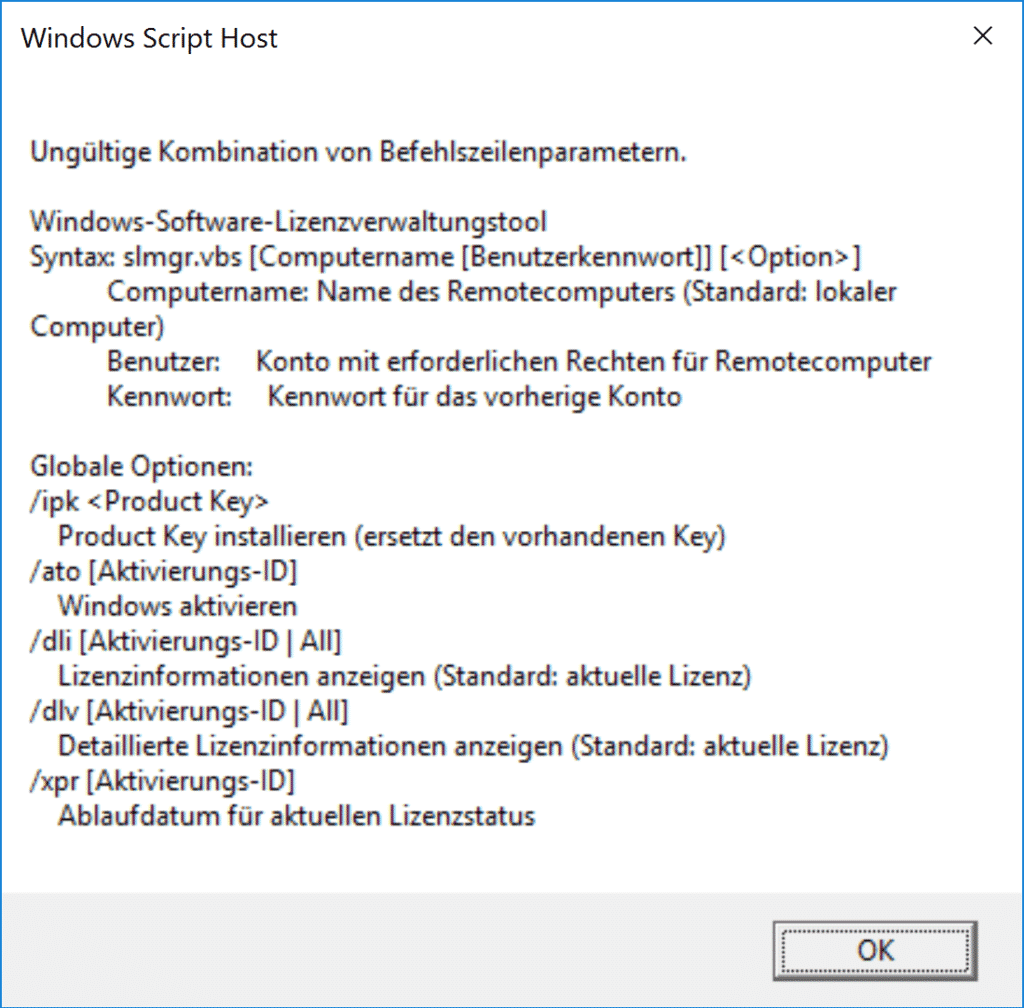 SLMGR Windows Lizenzinformationen abfragen