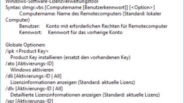 Windows Lizenzinformationen abrufen mit SLMGR