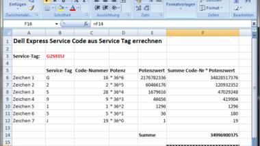 Dell Express Service Code aus Service Tag errechnen