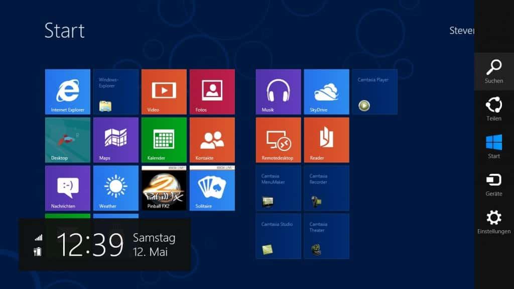 Windows 8 Seiten und Ecken Rechte Leiste
