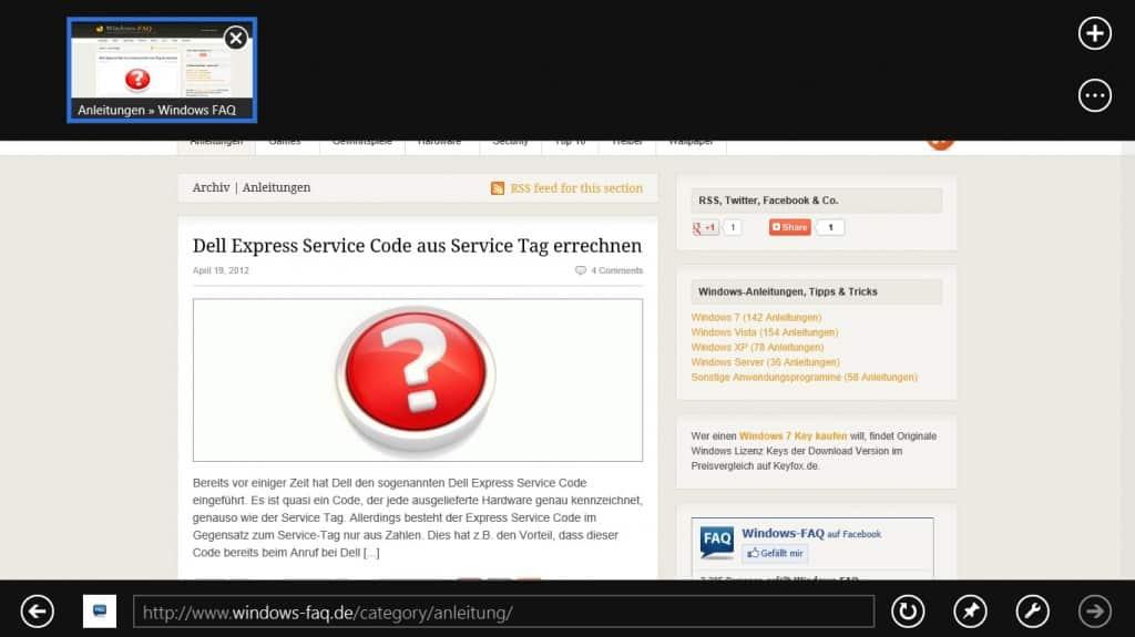 Windows 8 Rechtsklick Menübänder Internet Explorer 10