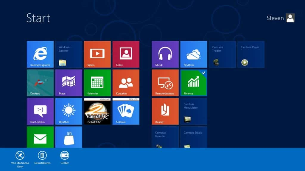 Windows 8 Rechtsklick Menüband Startmenü App