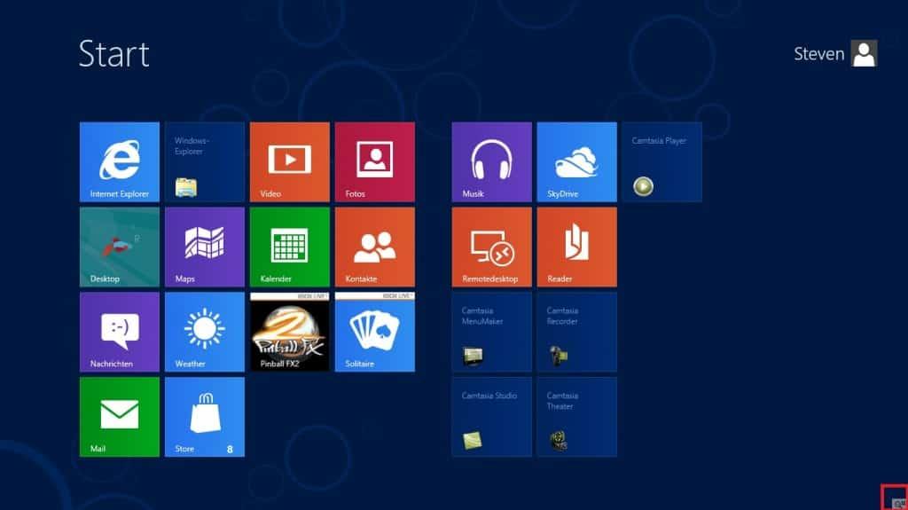 Windows 8 Seiten und Ecken Ansicht verkleinern