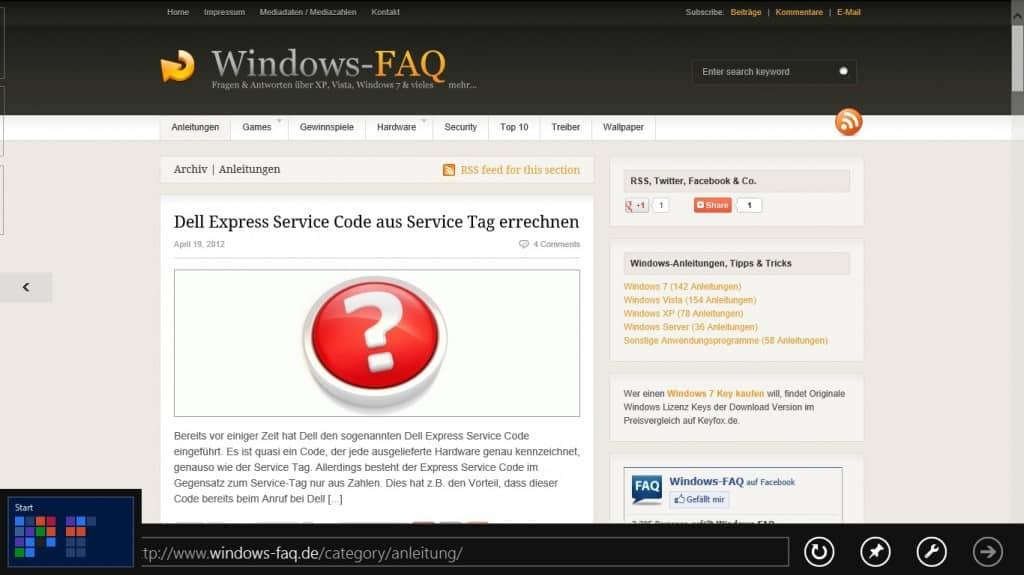 Windows 8 Seiten und Ecken ins Startmenü wechseln