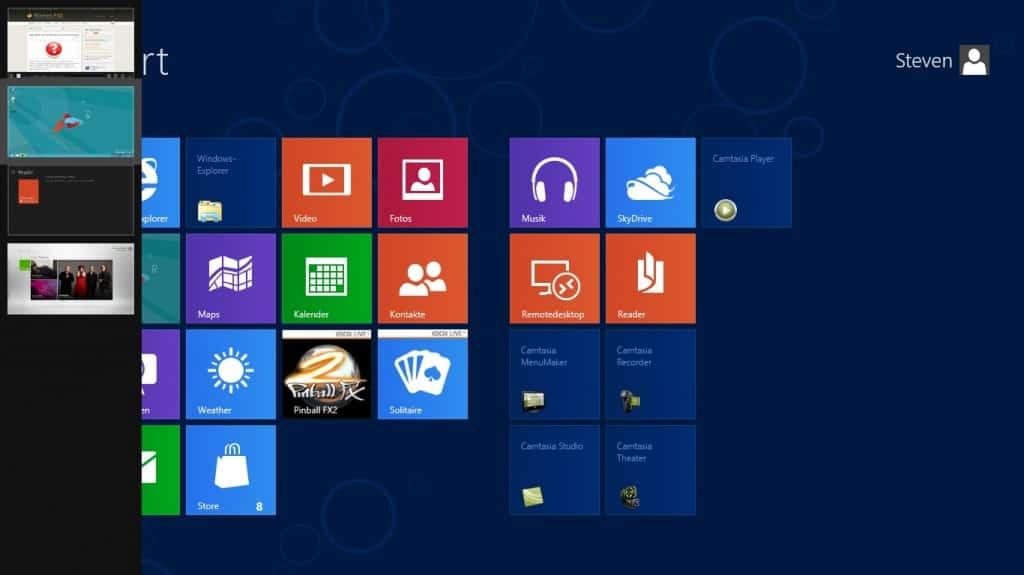 Windows 8 Seiten und Ecken letzte Apps