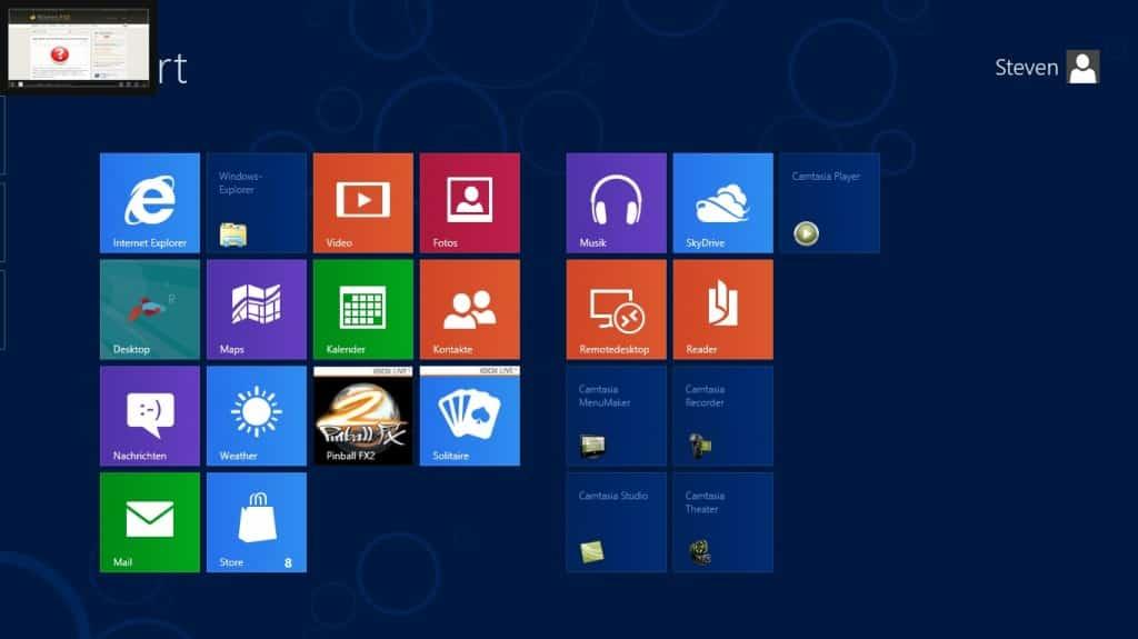 Windows 8 Seiten und Ecken letzte App