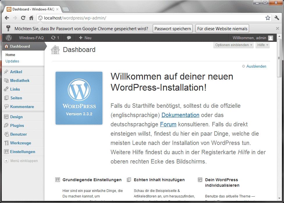 Willkommen auf Deiner WordPress Installation