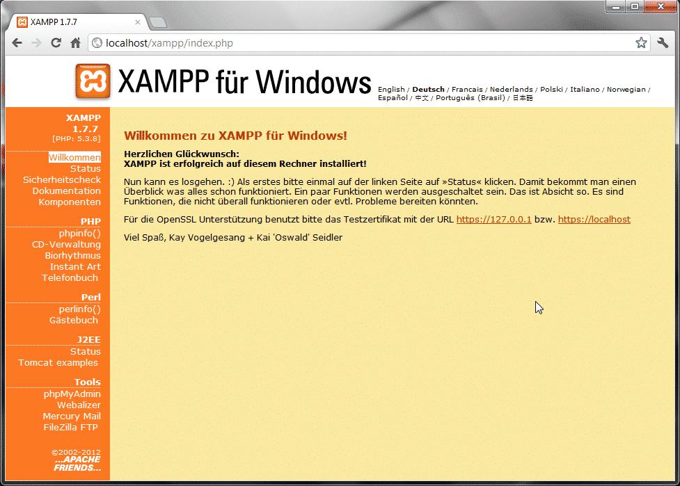 XAMPP 1.7 Übersichtsseite