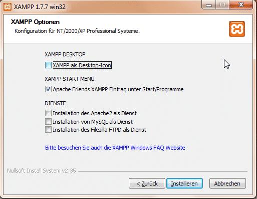 XAMPP 1.7 Installationsoptionen und Dienste