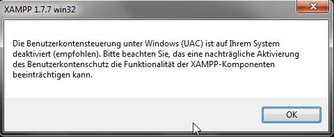 Xampp Benutzerkontensteuerung