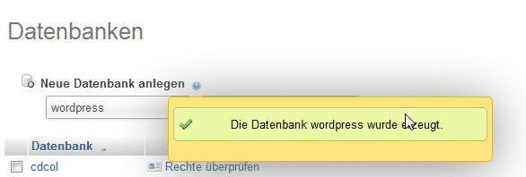 phpmyadmin Datenbank wurde erzeugt