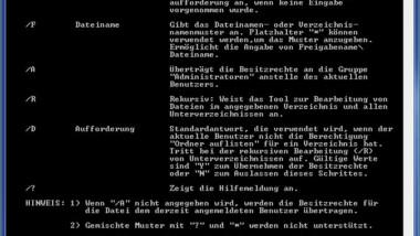 Takeown und Parameter – Besitzübernahme von Ordnern und Dateien