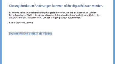 0x800F0906 Fehlercode bei Installation vom .NET Framework 3.5 unter Windows 8
