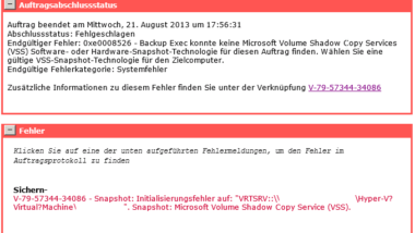 Backup Exec 2012 Snaphot Error 0xe0008526 (V-79-57344-34086)