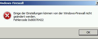 0x80070422 Windows Firewall Error