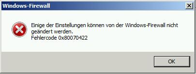 Windows Firewall 0x80070422
