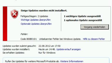 Windows Update Error Code 800B0101