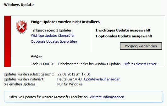 Windows Update 800B0101
