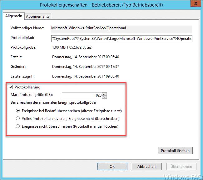 Protokolleigenschaften Windows Ereignisprotokoll