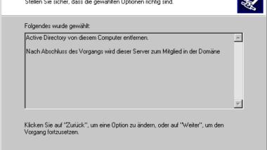 Die Installation von Active Directory ist fehlgeschlagen ….
