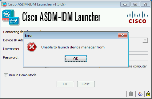 Cisco ASDM - Unable to launch device Manager from