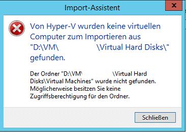 Hyper-V Import schlägt fehl