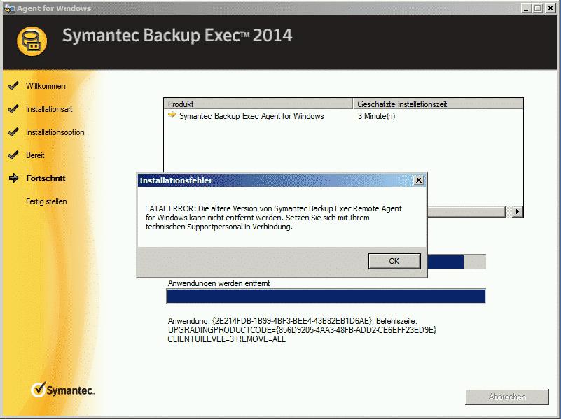 Symantec Backup Exec Agent Fatal Error