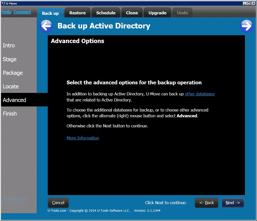 UMove Backup Advanced Options