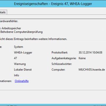WHEA Logger – Ereignis ID 47