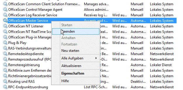 TrendMicro OfficeScan 11 Migration Dienste