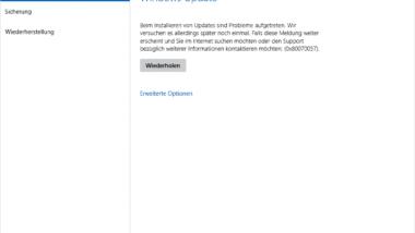 Windows 10 Windows Update Fehler 0x80070057 / 0x8024402c