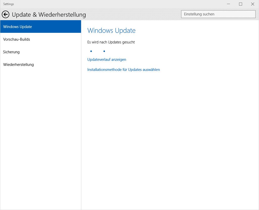 Windows Updates werden gesucht