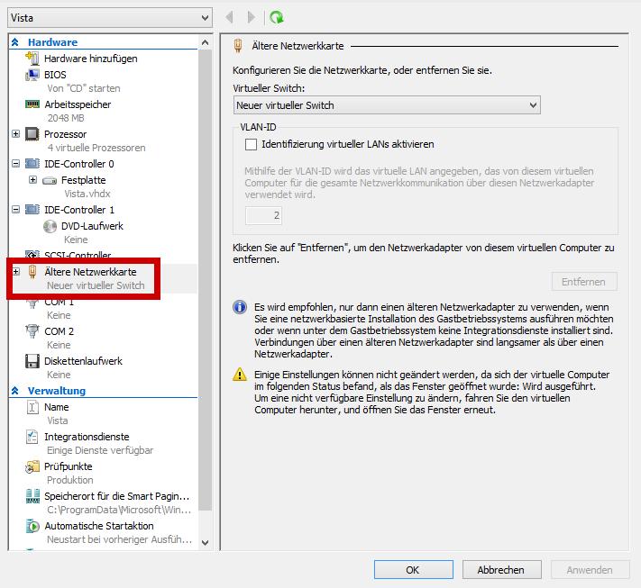 Vista legacy network adapter