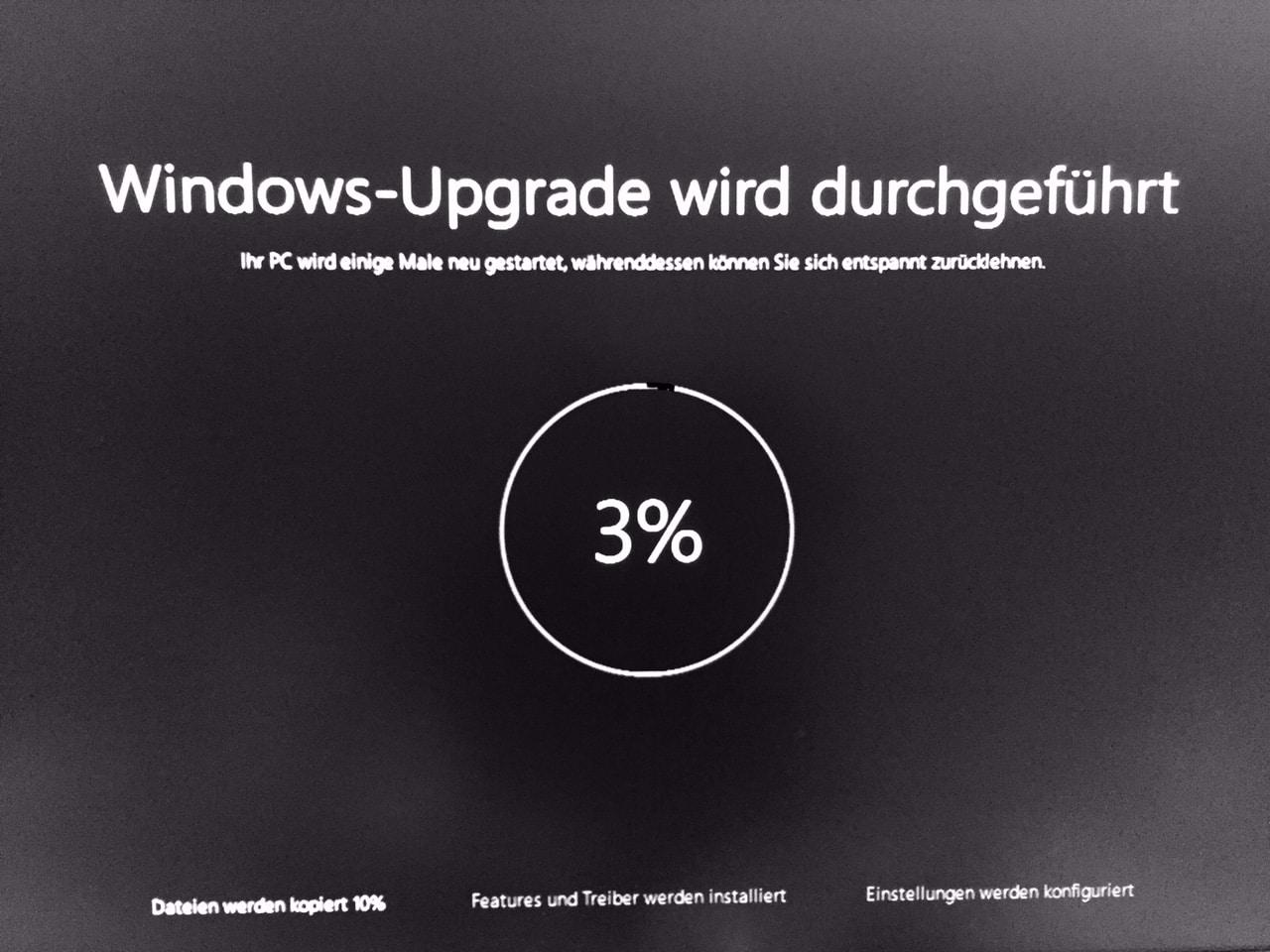 Windows Upgrade wird durchgefuehrt