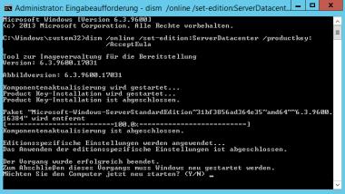 Windows Server 2012 R2 Standard in Datacenter Version umwandeln
