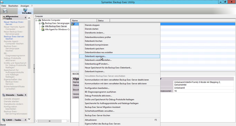 Backup Exec - Datenbank reparieren