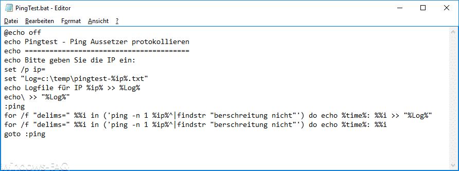 Pingtest.bat Quellcode