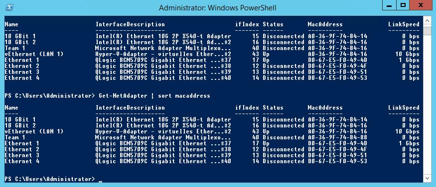get-netadapter MAC address