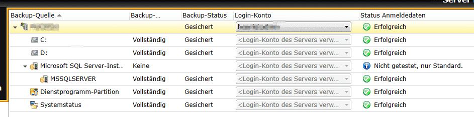 Backup Exec Anmeldedaten