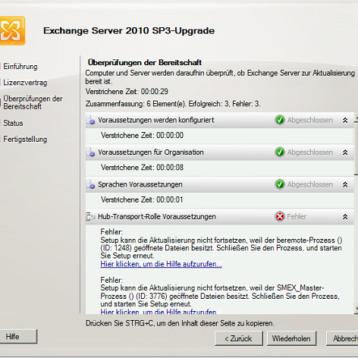 SP3 Fehler beim Update vom Microsoft Exchange 2010 (ID 1248 & 3776)