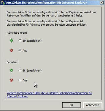 ScanMail 10.2 auf SP2 IE verstärkte Sicherheit