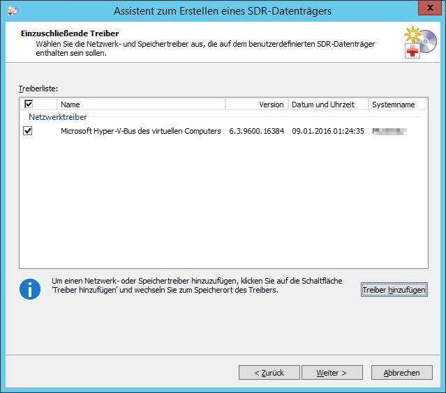Backup EXEC SDR-Datenträger Einzuschließende Treiber