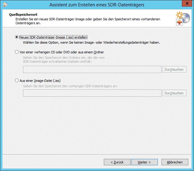 Backup EXEC SDR-Datenträger Quellspeicherort