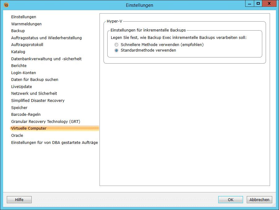 Backup Exec 15 Einstellungen virtuelle Computer