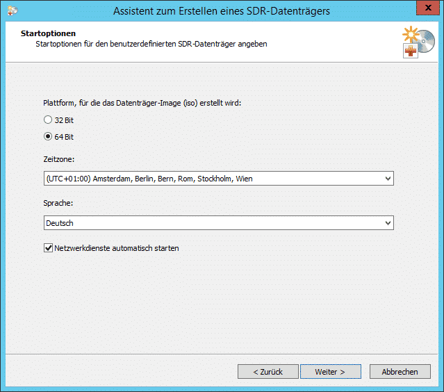 Backup Exec SDR-Datenträger Startoptionen